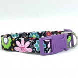 Garden Party with Purple Hardware Dog Pet Collar
