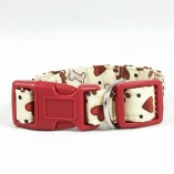 Tan and Red Bones and Pawprints Dog Pet Collar