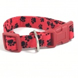 Black on Red Pawprints Dog Pet Collar