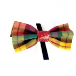Gold-Red-Green Plaid Pet Bow Tie