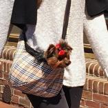 Famous Designer Tan Plaid Puppy Sling Pet Carrier