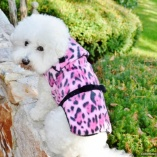 Pink Leopard Plush Coat for Dogs and Pets