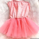 Sequined Pink Coral Ballerina Tutu Dress for dogs and cats