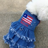 Distressed Patriotic Stars n' Stripes Fringe Denim Dress for Pet Dogs