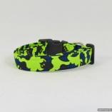 Halloween Blue Bats on Lime Dog Pet Collar